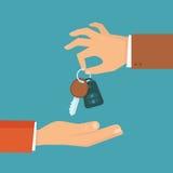 Wektorowy samochodowego wynajem lub sprzedaży pojęcie w mieszkanie stylu Fotografia Stock