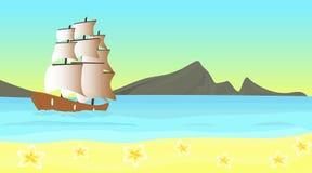 Wektorowy seascape z statkiem w morzu przy wybrzeżem tropikalna wyspa, ilustracji
