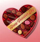 Wektorowy serce kształtujący valentine dnia cukierku pudełko Zdjęcia Stock