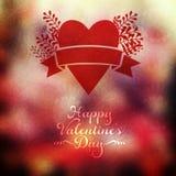 Wektorowy serce z ziele i faborek na zamazanym tle Blurre ilustracji