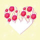 Wektorowy serce zakrywający z różami royalty ilustracja