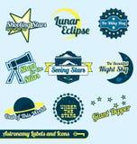 Wektorowy Set: Astronomii i Gwiazd retro Etykietki Zdjęcie Royalty Free