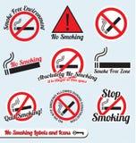 Wektorowy Set: Palenie Zabronione Szyldowe Etykietki i Ikony Zdjęcie Stock