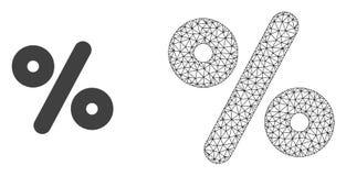 Wektorowy sieci siatki procent i mieszkanie ikona royalty ilustracja