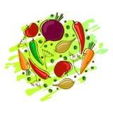 Wektorowy skład z warzywami: marchewka, pomidor, pieprze i cebula, royalty ilustracja
