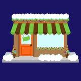Wektorowy sklepu przód, sklep z okno i znakiem lub royalty ilustracja