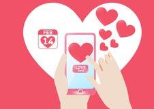Wektorowy Smartphone wysyła miłości serce w valentine ` s dniu ilustracja wektor