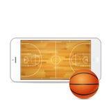 Wektorowy smartphone z koszykówka sądem na ekranie i piłką royalty ilustracja