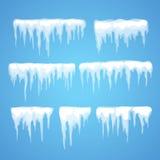 Wektorowy sopel i śnieżny elementu clipart royalty ilustracja