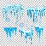 Wektorowy sopel i śnieżny elementu clipart Różna śnieżna nakrętka ilustracja wektor