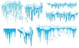 Wektorowy sopel i śnieżny elementu clipart Różna śnieżna nakrętka ilustracji