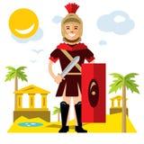 Wektorowy Spartański wojownik Mieszkanie kreskówki stylowa kolorowa ilustracja Zdjęcie Royalty Free