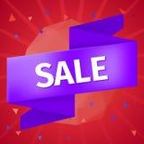 Wektorowy sprzedaż znak na błękitnym faborku na czerwonym tle Zdjęcia Stock