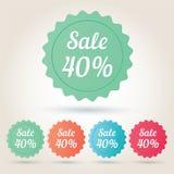 Wektorowy sprzedaży 40% odznaki majcher obrazy royalty free