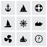 Wektorowy statku i łodzi ikony set Obraz Royalty Free