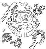 Wektorowy stomatologiczny higiena humor z usta seansu brudnymi zębami z dżdżownicami, plakieta i warzywa czarny white ilustracji