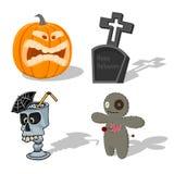 Wektorowy straszny Halloween podpisuje bani, wudu lala, straszny koktajl, nagrobek Kreskówka horroru wakacje elementy straszny ilustracji