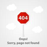 Wektorowy strona znajdujący błąd 404 Zdjęcia Royalty Free