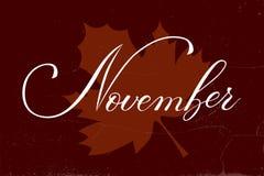 Wektorowy stylu życia literowanie Listopad cześć Obraz Royalty Free