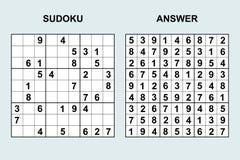 Wektorowy sudoku z odpowiedzią Obraz Royalty Free