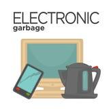 Wektorowy symbol elektroniczny odpady royalty ilustracja