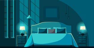 Wektorowy sypialni wnętrze przy nocą z meble, łóżko z wiele poduszkami w blask księżyca Sypialni wewnętrzni nightstands, oświetle royalty ilustracja