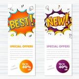Wektorowy szablonów sztandarów komiczki styl Najlepszy i nowy Zdjęcie Royalty Free