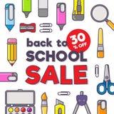 Wektorowy szablon z powrotem szkoły sprzedaż Materiały tekst i ikony Sprzedaż plakat w płaskim projekta stylu Obraz Stock
