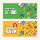 Wektorowy szablon z powrotem szkoły sprzedaż Szkolne materiały ikony, tekst i Sprzedaż plakat w płaskim projekta stylu Zdjęcia Stock