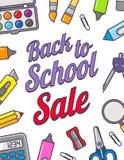 Wektorowy szablon z powrotem szkoły sprzedaż Szkolne materiały ikony, tekst i Sprzedaż plakat w płaskim projekta stylu Zdjęcie Royalty Free