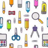 Wektorowy szablon z powrotem szkoły sprzedaż Szkolne materiały ikony, tekst i Sprzedaż plakat w płaskim projekta stylu Obrazy Stock