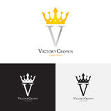 Wektorowy szablon zwycięstwo korony logo Obraz Stock