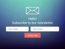 Wektorowy szablonu email prenumeruje Przedkłada formę dla strona internetowa emaila listu sztandaru ilustracji