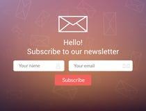 Wektorowy szablonu email prenumeruje Przedkłada formę dla strona internetowa emaila listu sztandaru Obraz Stock