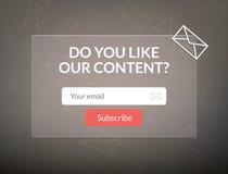 Wektorowy szablonu email prenumeruje Przedkłada formę dla strona internetowa listu sztandaru Obrazy Royalty Free