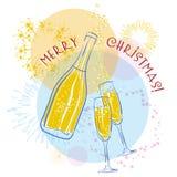 Wektorowy szampan Zdjęcia Royalty Free