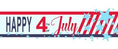 Wektorowy Szczęśliwy 4h Lipa sztandar z gwiazdami i lampasami USA dnia niepodległości dekoracja Obrazy Royalty Free