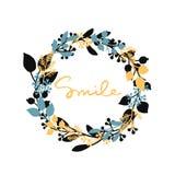 Wektorowy szczęśliwy tło z ręka rysującym liścia wiankiem i żółty słowo my uśmiechamy się Fotografia Stock