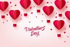 Wektorowy szczęśliwy valentines dnia gorącego powietrza serca balon Obrazy Royalty Free