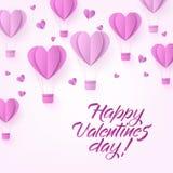 Wektorowy szczęśliwy valentines dnia gorącego powietrza serca balon Obrazy Stock