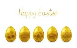 Wektorowy Szczęśliwy Wielkanocny kartka z pozdrowieniami z realistycznymi jajkami odizolowywającymi ilustracja wektor