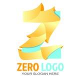Wektorowy szczęśliwy zero loga szablon fotografia stock