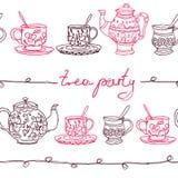 Wektorowy szkicowy doodles herbacianego przyjęcia bezszwowy wzór Royalty Ilustracja
