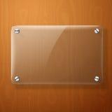 Wektorowy szklany talerz dla twój znaków na drewnianym, Fotografia Royalty Free