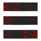 Wektorowy sztandar ozdobny zmrok - szary czerwony kolor ilustracja wektor