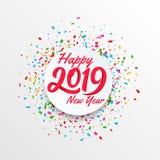 Wektorowy sztandar szczęśliwy nowy rok 2019 z kółkowym convetti tłem fotografia royalty free