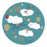 Wektorowy sztandar z gorące powietrze baloons Zdjęcie Stock