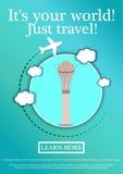 Wektorowy sztandar z tekstem Swój twój świat tylko podróż Pojęcie strony internetowej szablon Nowożytny płaski projekt Baiterek z Fotografia Stock