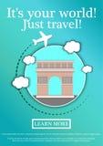 Wektorowy sztandar z tekstem Swój twój świat tylko podróż Pojęcie strony internetowej szablon Nowożytny płaski projekt arch Paris Ilustracja Wektor