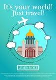 Wektorowy sztandar z tekstem Swój twój świat tylko podróż Pojęcie strony internetowej szablon Nowożytny płaski projekt St Isaac ` ilustracji